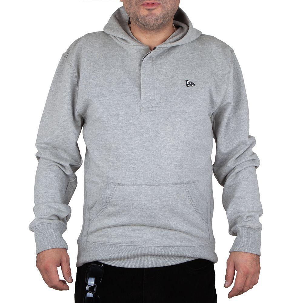 Bluza New Era z małym logo szara z kapturem