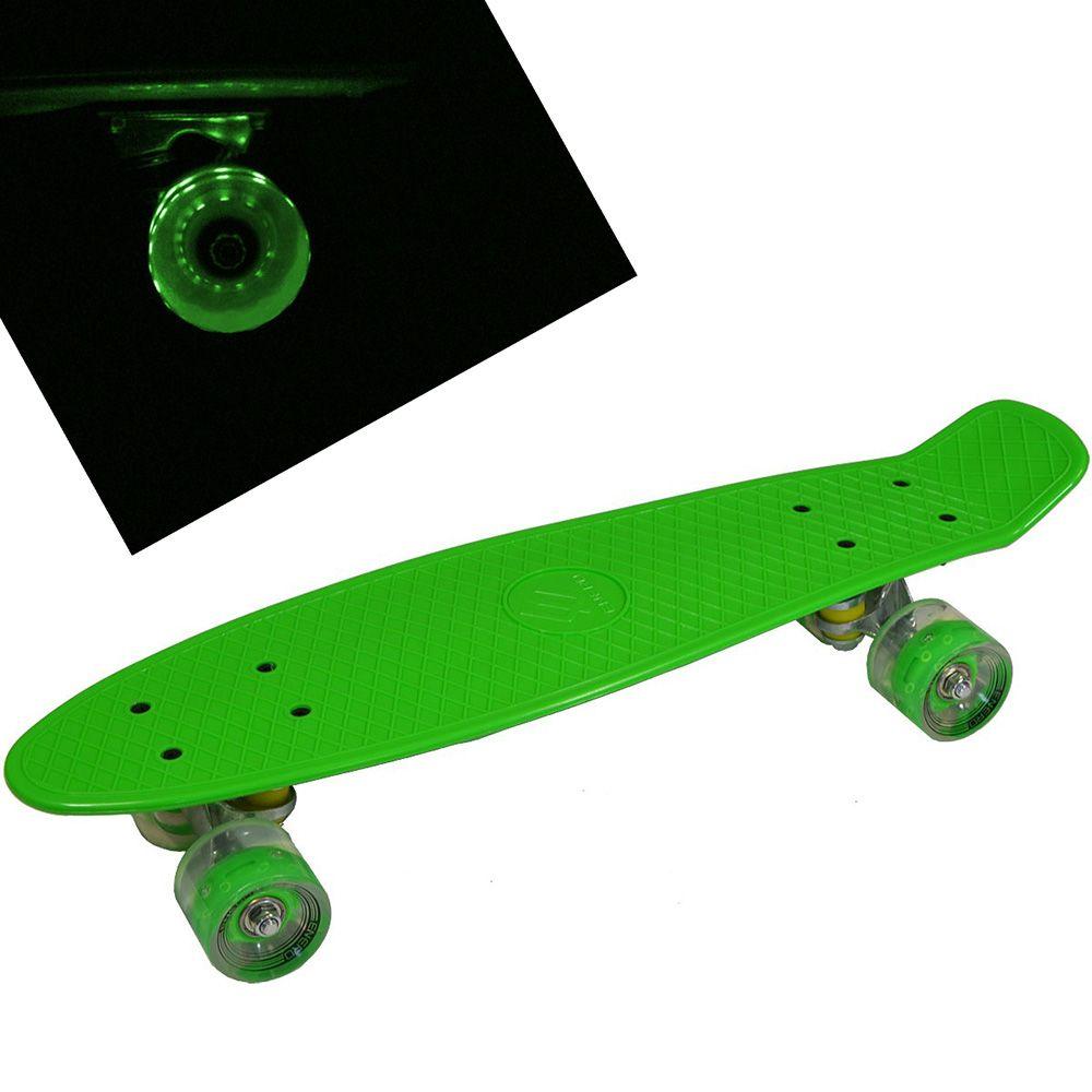 Deskorolka fiszka ENERO świecąca LED zielona 56cm