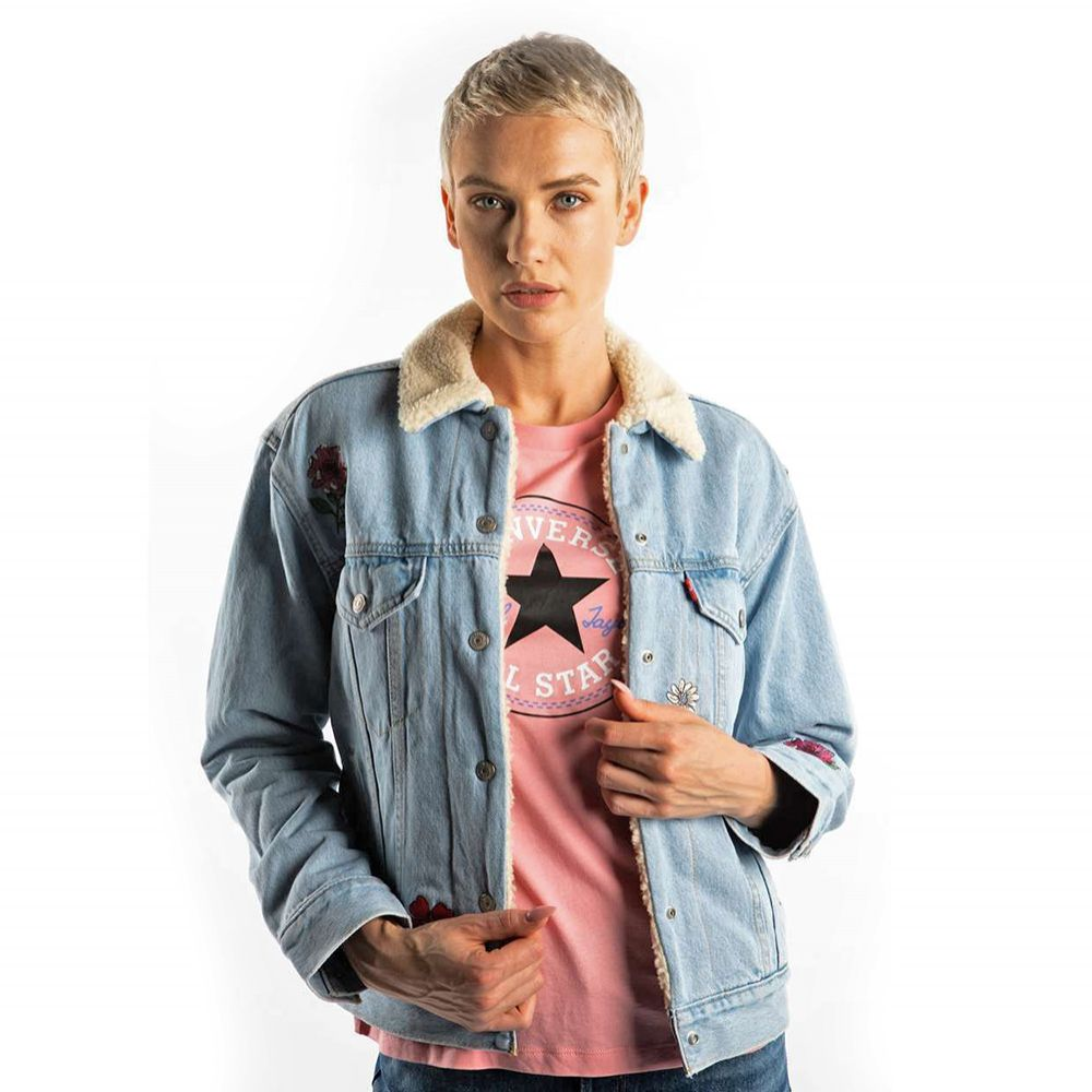 Kurtka Levis EX-BF SHERPA jeansowa niebieska