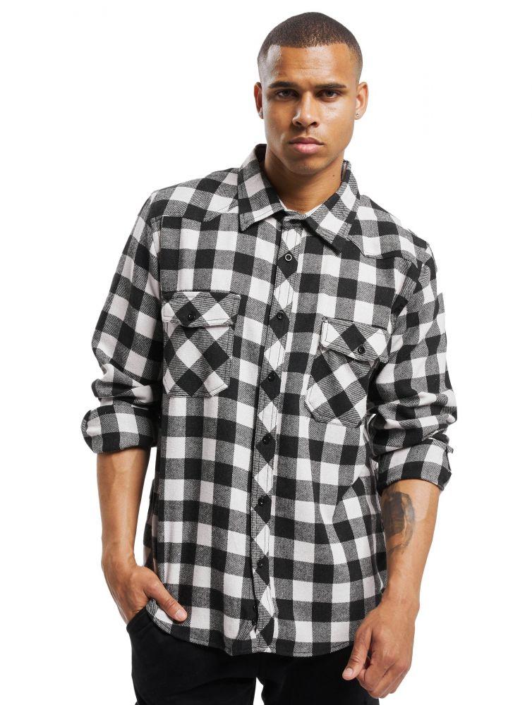 Koszula DEF Maxim czarna w kratkę flanela