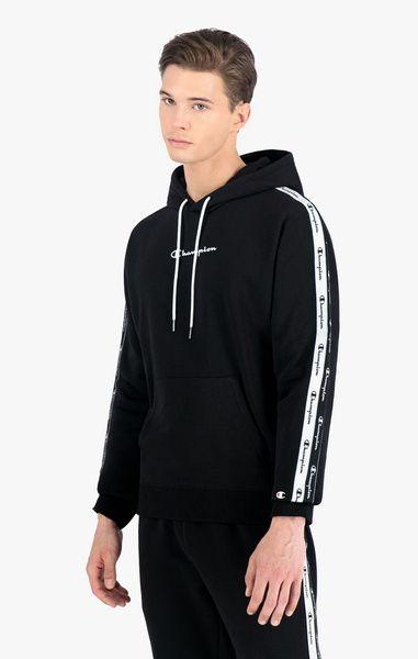 Bluza champion hoodie double logo tape insert cotton terry (216559) black