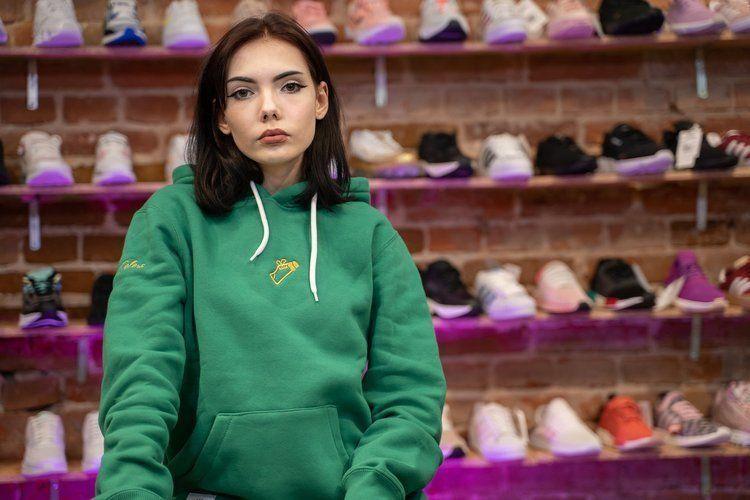 Bluza hoodie street colors x elade mini logo green