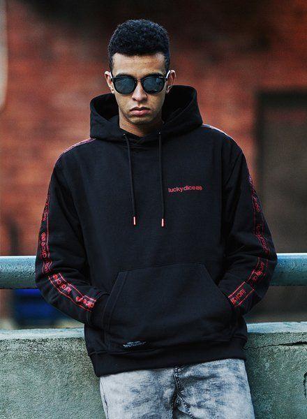 Bluza lucky dice hoodie sm-logo tape (black)