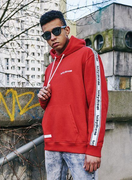 Bluza lucky dice hoodie sm-logo tape (red)