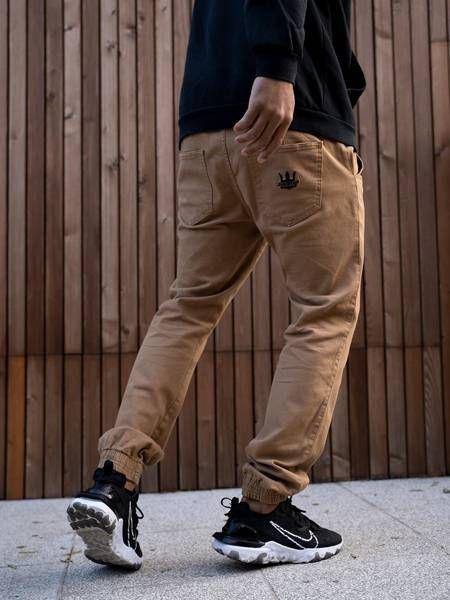 Spodnie jigga wear jogger crown ciemne brązowe / czarne