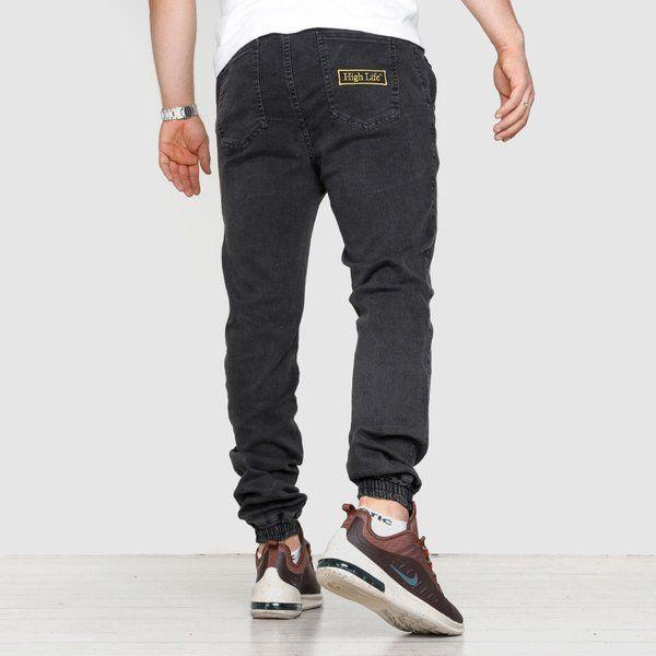 Spodnie jogger high life hl haft jeans black