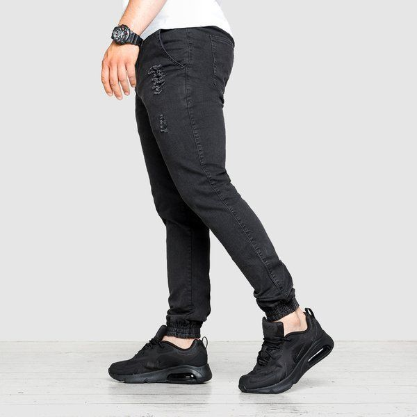 Spodnie jogger high life ripped jeans black
