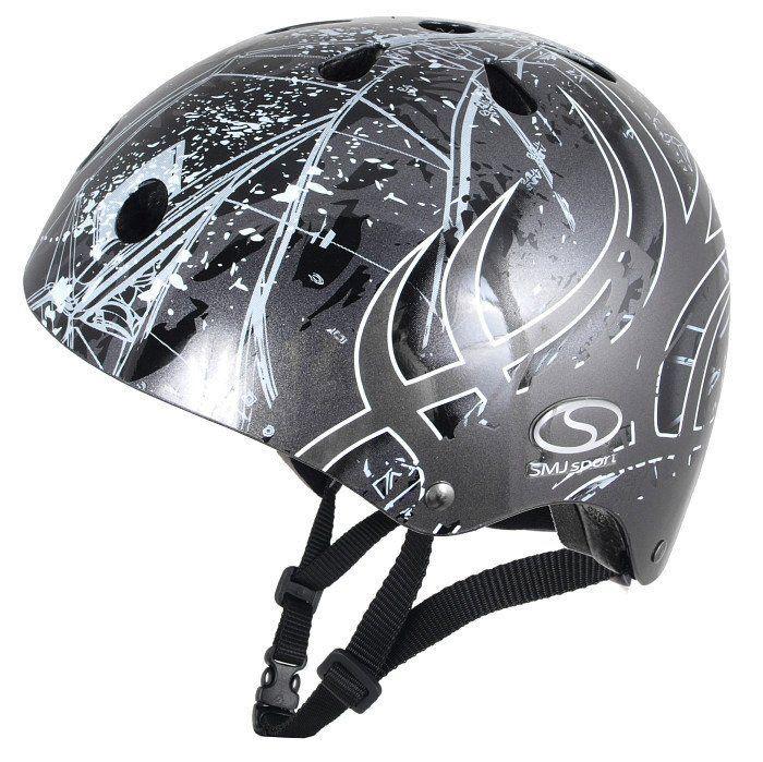 Kask SMJ skate rolki rower Anarchy Metalic Silver