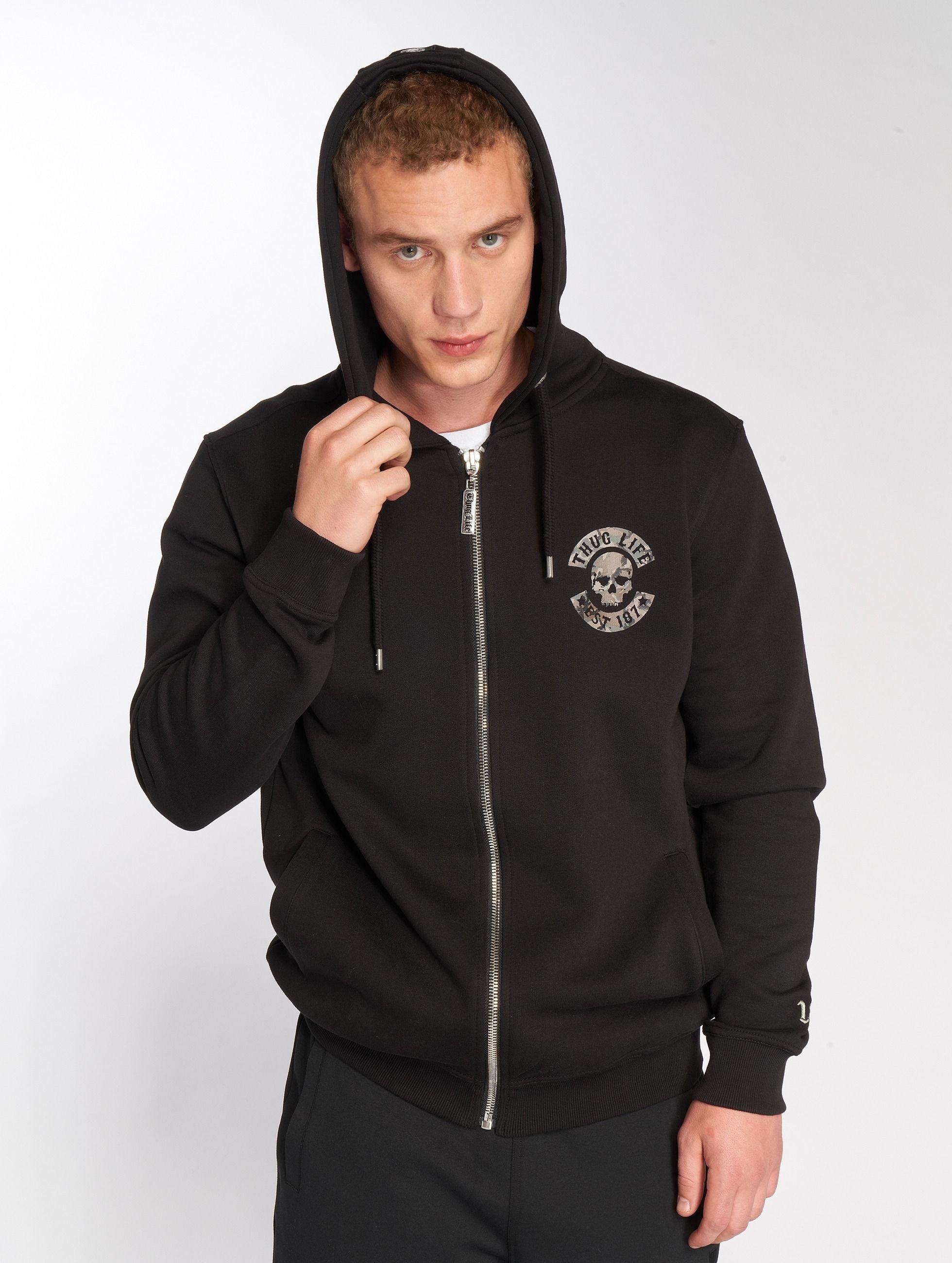 f9de6468 Bluza rozpinana Thug Life B. Camo czarna - Bluza z kapturem zip ...